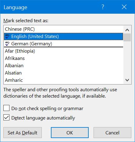 Quick Language Settings