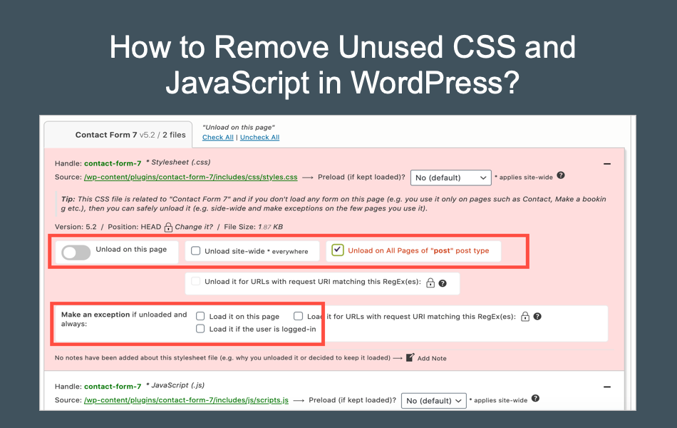 Remove Unused CSS and JS in WordPress