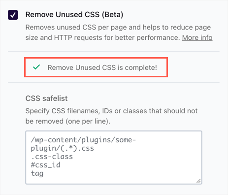 Remove Unused CSS is Completed