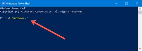 Restart from Windows PowerShell