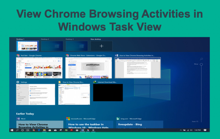 View Chrome Browsing Activities in Windows Task View