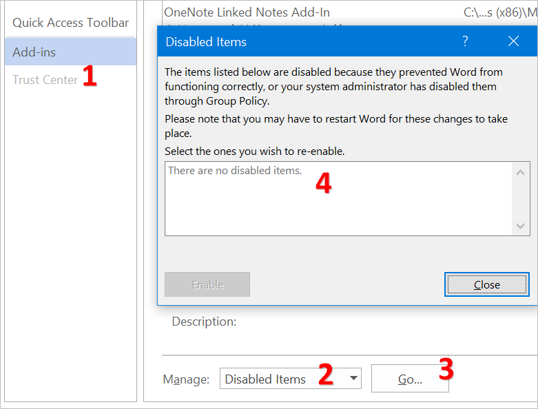 View Disabled Add-ins in Office