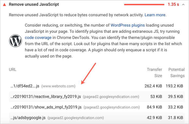 View Unused Resources in PageSpeed