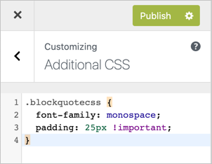 Additional CSS in Customizer