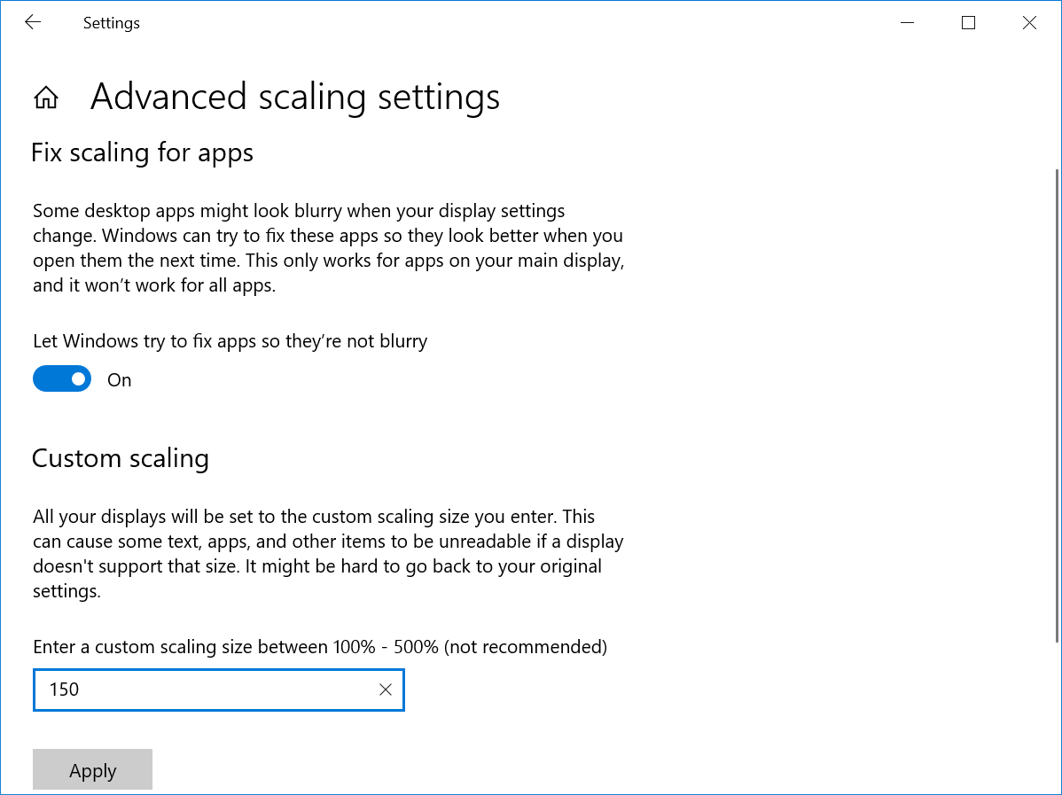 Advanced Scale Settings