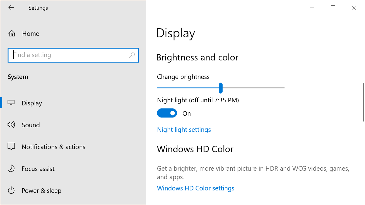 Brightness and HD Color Settings