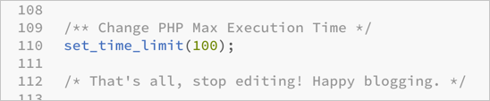Change PHP Max Execution Time in WP Config File