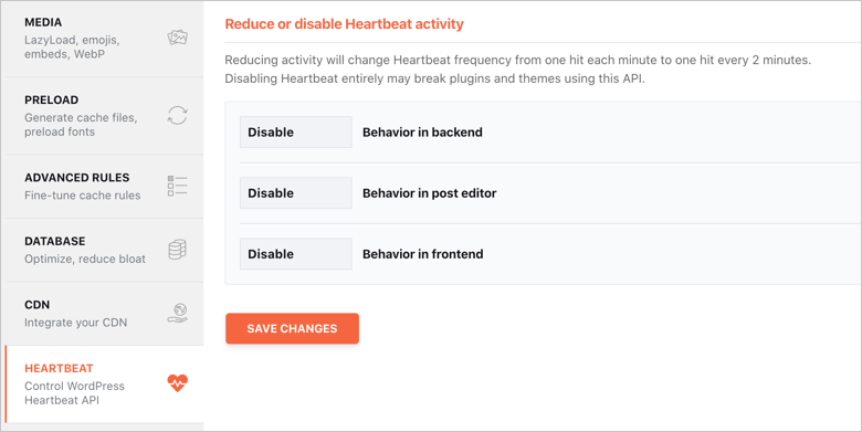 Disable Heartbeat API in WP Rocket