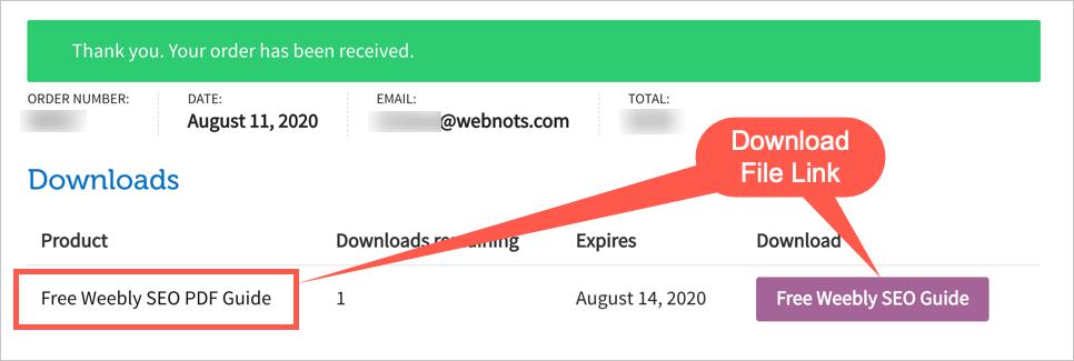 Скачать ссылки на файлы после оформления заказа
