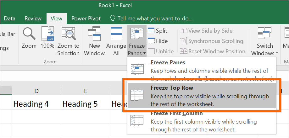 Freeze Top Rows in Excel