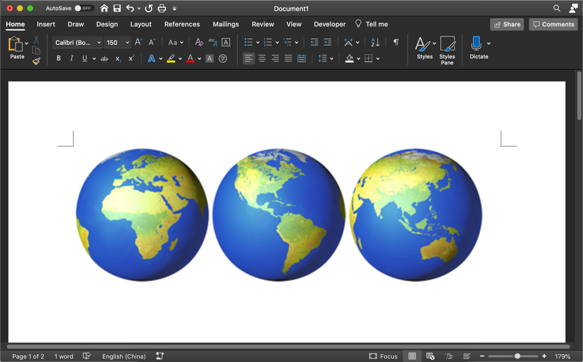 Globe Emoji in Mac Word