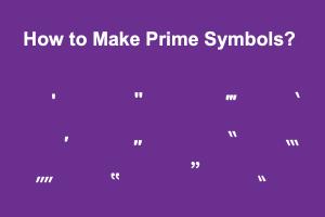 How to Make Prime Symbols?