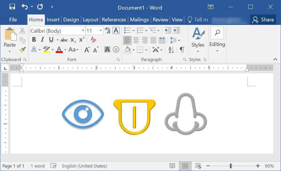 Insert Body Parts Emoji in Word Windows