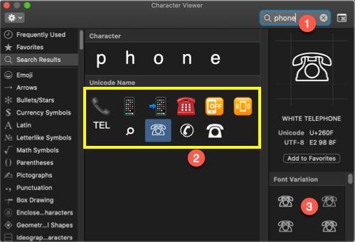 Insert Phone Symbols in Mac
