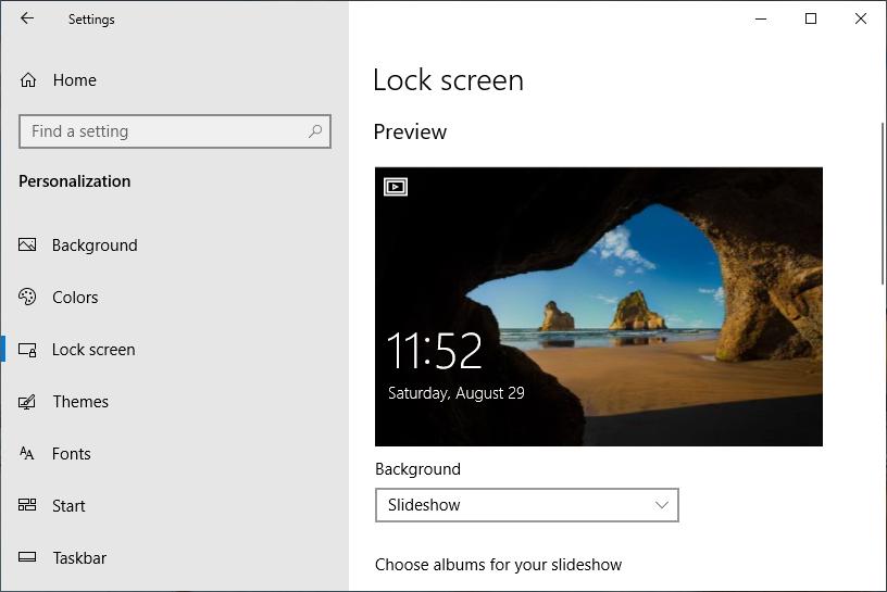Lock Screen Settings in Windows