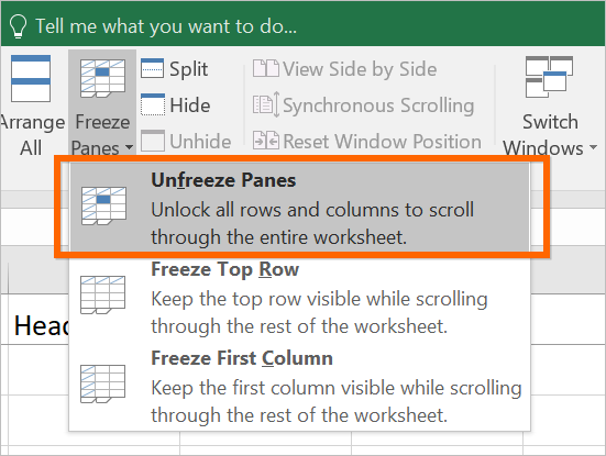 Unfreeze Panes in Excel Sheet