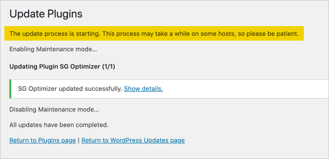 Update Warning in WordPress