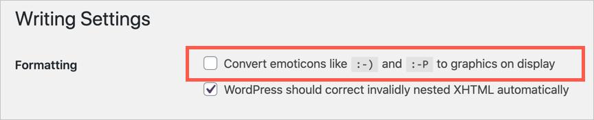 WordPress Emoticon Display Settings