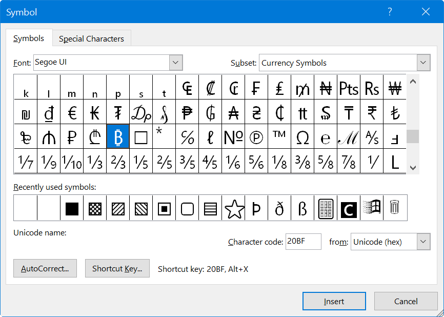 Bitcoin in Word Symbol Utility