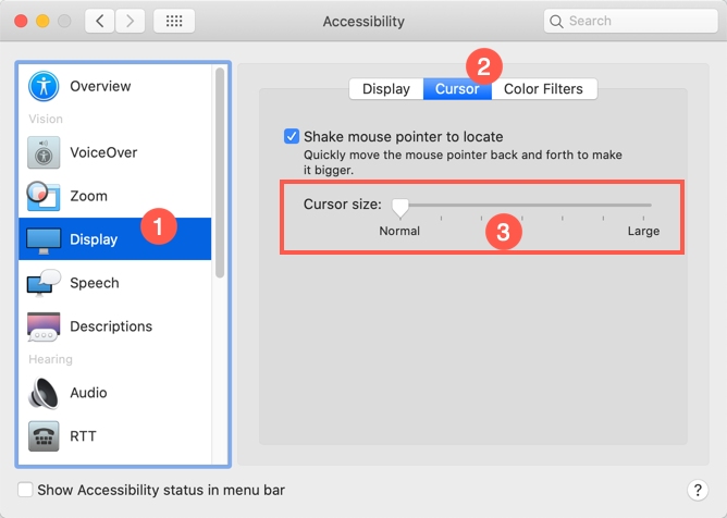 Change Mouse Pointer Size in Mac
