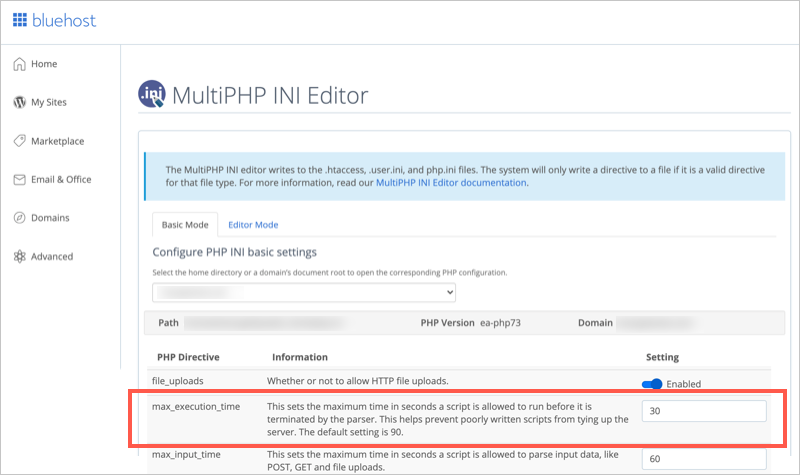 Change PHP Max Execution Time in Bluehost