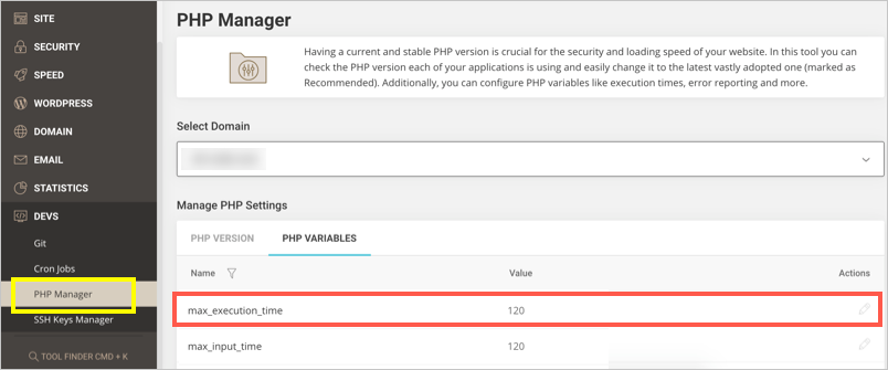 Change PHP Max Execution Time in SiteGround