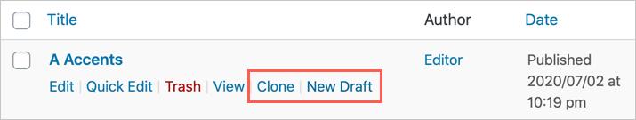 Clone or Create Draft of Single Post