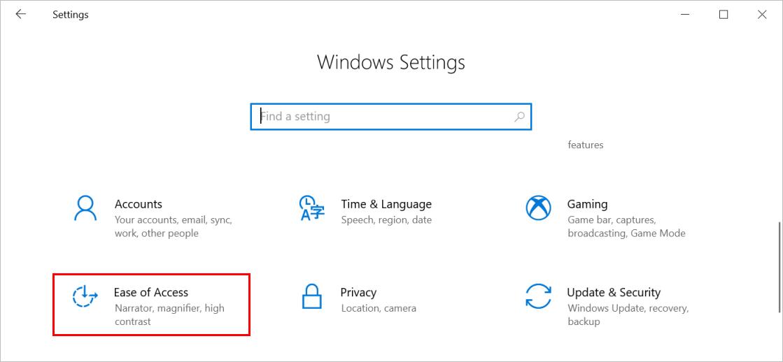 Настройки легкости доступа в Windows 10