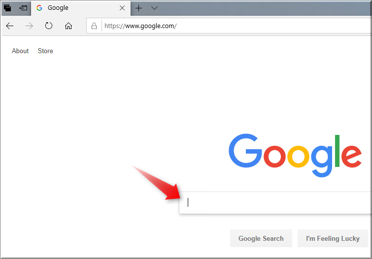 First Search with Google in Edge