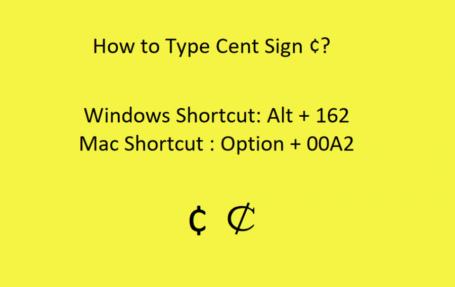 How to Type Cent Sign?