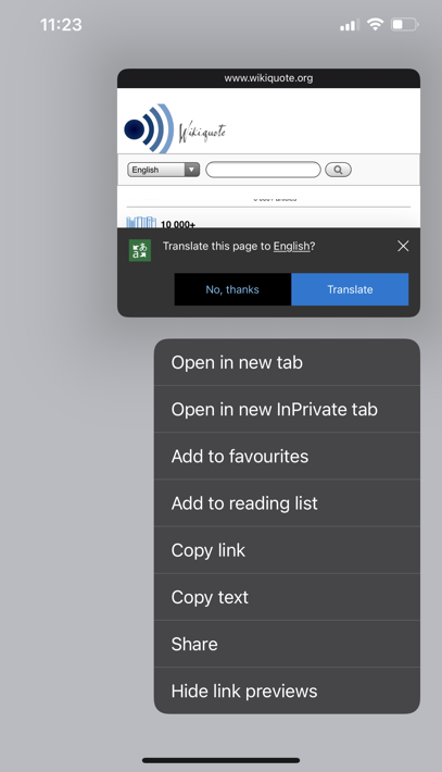 Link Preview in Edge with Bing Translation