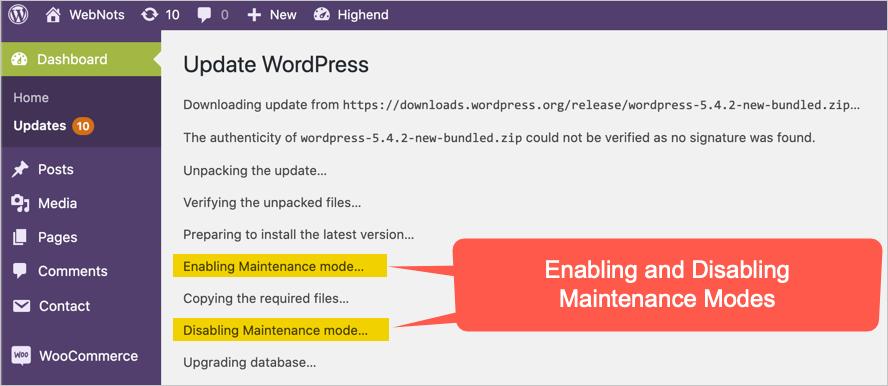 Maintenance Modes During WordPress Update