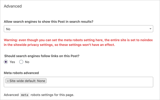 Meta Robots Tag in Yoast SEO