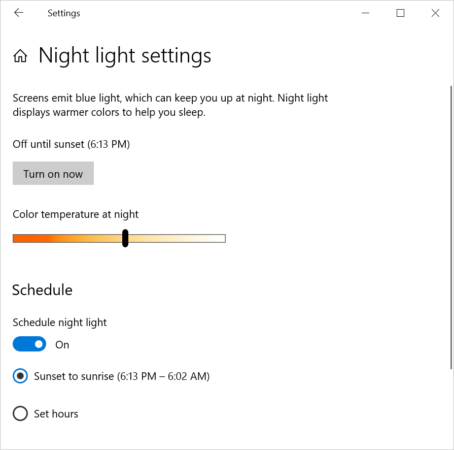 Night Light Settings in Windows 10