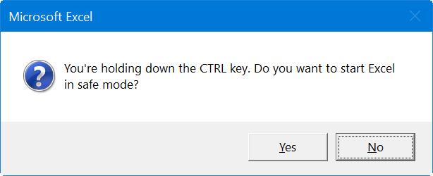 Open Excel Safe mode