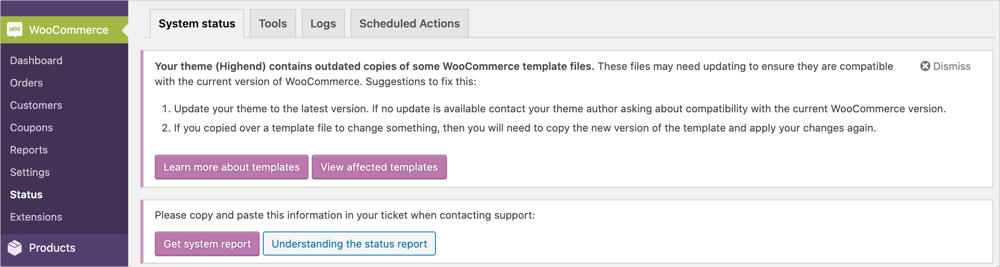 Outdated Template Warning in WooCommerce
