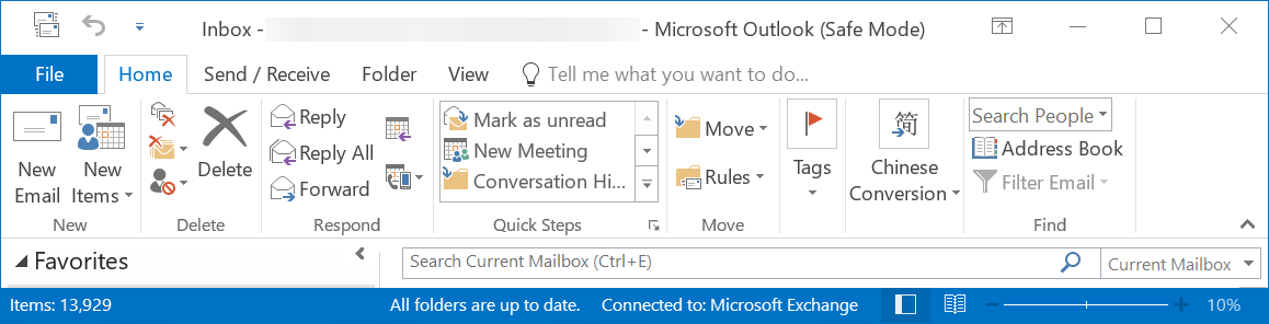 Outlook in Safe Mode Connected to Exchange Server