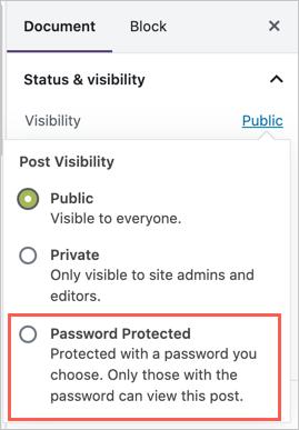 Password Protect Option in WordPress