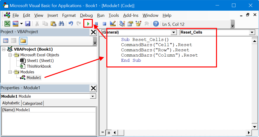 Run Reset Cell Commands in Excel VBA Editor Module