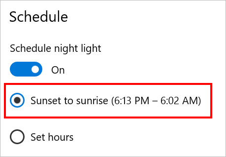 Schedule Night Light Mode
