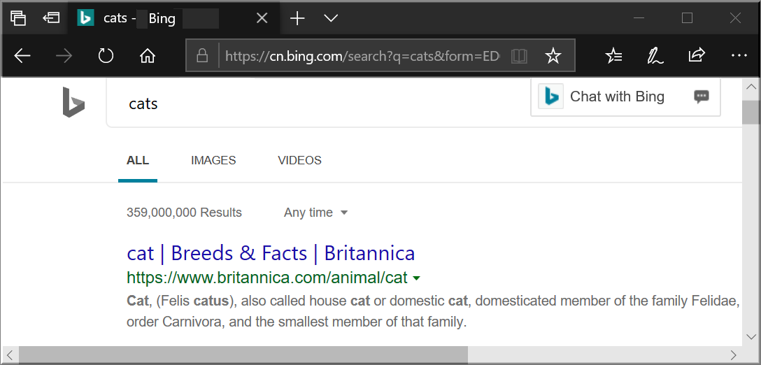 Search Results in Bing
