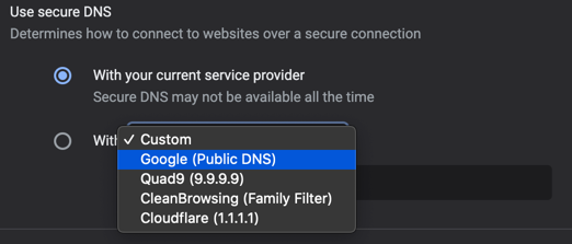 Select Public DNS in Chrome