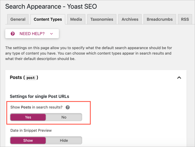 Set Meta Robots Noindex for Content Type in Yoast SEO