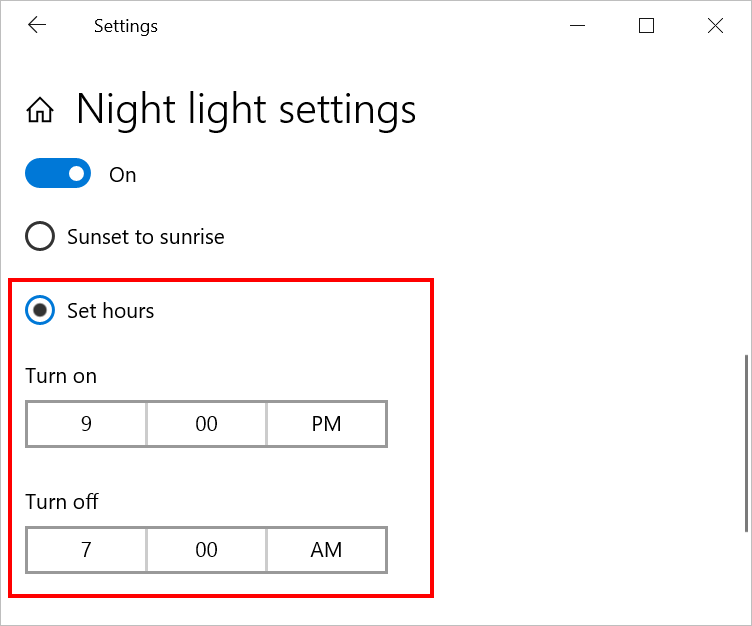 Set Specific Hours for Night Mode
