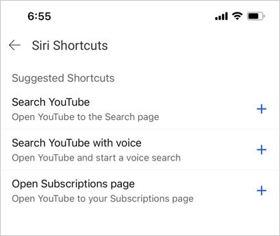 Setup Siri Shortcuts for YouTube