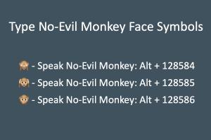 Type No-Evil Monkey Face Symbols