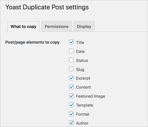 What to Copy Section