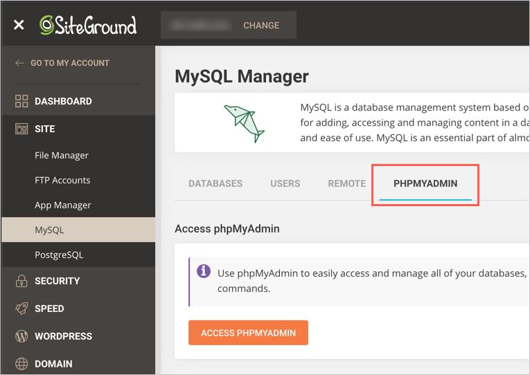 phpMyAdmin Tool in SiteGround