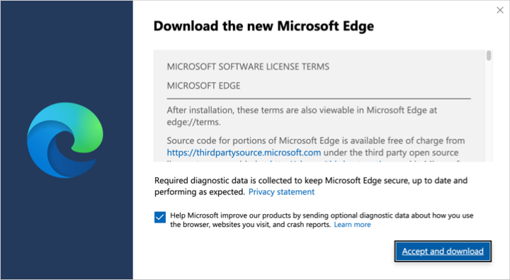 Accept and Download Edge in Mac