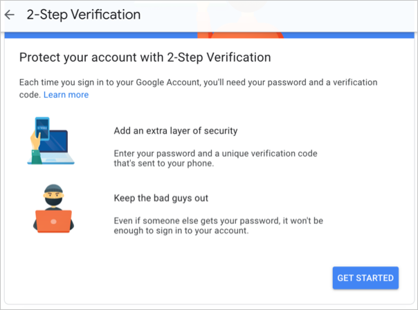 Add 2 Step Verification for Google Account